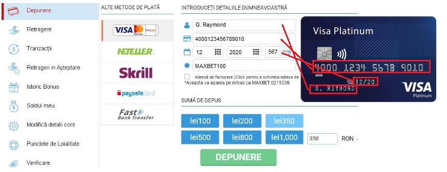 online maxbet depunere card
