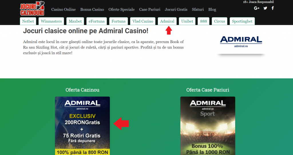 printscreen pagina admiral casino