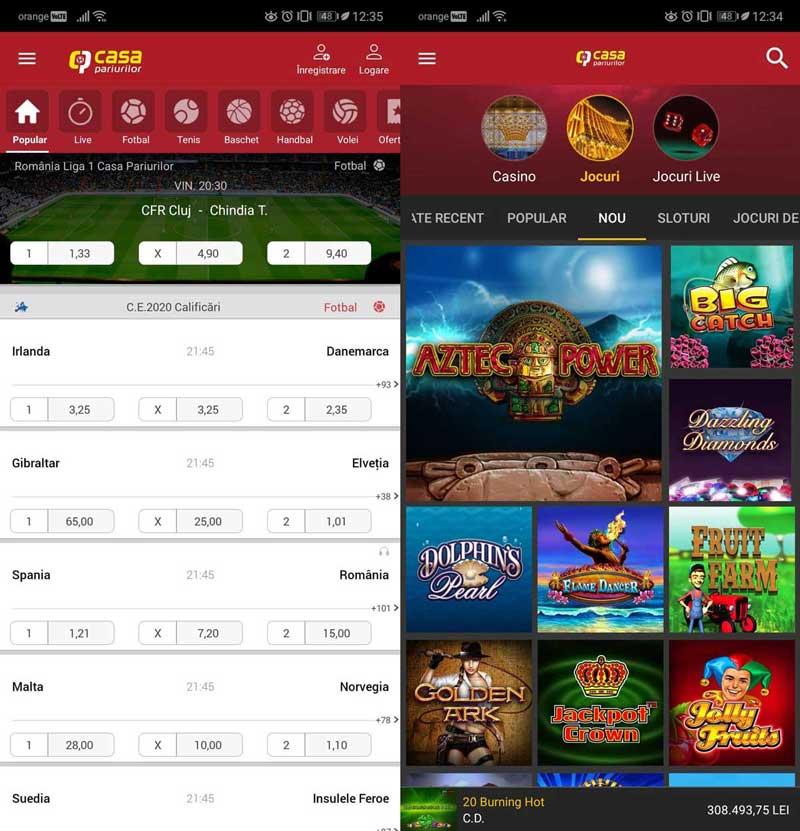 casa pariurilor aplicatie casino si sport