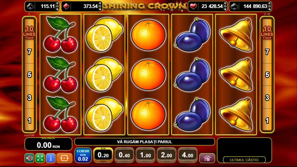 slotul cu fructe shining crown la betano