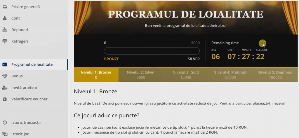 program loialitate admiral