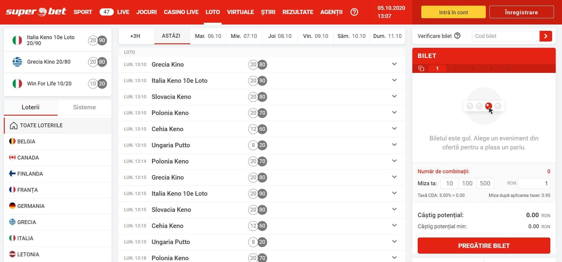 superbet interfata loto online