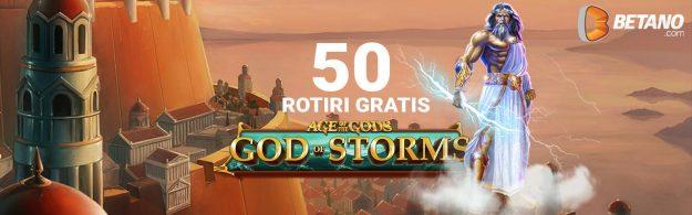 50 de Rotiri Gratuite la Age of the Gods: God of Storms