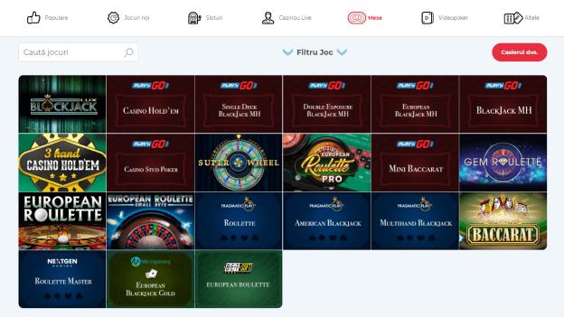 Jocuri de masă SlotV Casino