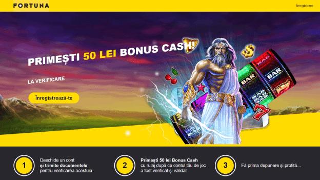 bonus cash 50 RON la verificare cont eFortuna